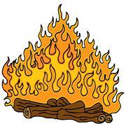 campfire cartoon - stock illustration