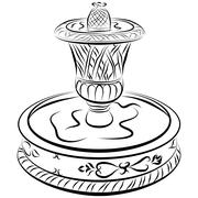 Stock Illustration of victorian water fountain line drawing