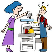 angry customer yelling at cashier - stock illustration