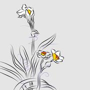 Orchid flower arrangement line drawing Stock Illustration