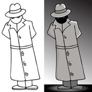 Mysterious trenchcoat man Stock Illustration
