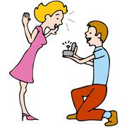 man proposes to woman - stock illustration