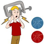 Headache vice man Stock Illustration