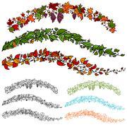 leaf flower vine set - stock illustration