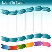 Learn to swim slide Stock Illustration