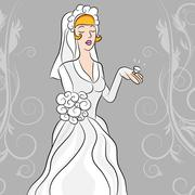 bride gazes on her diamond wedding wing. - stock illustration