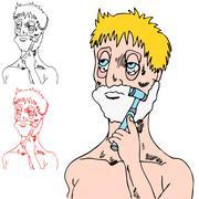 Tired man shaving Stock Illustration