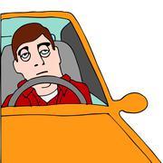 tired man sitting in traffic - stock illustration