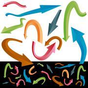 Beveled curving arrow set Stock Illustration