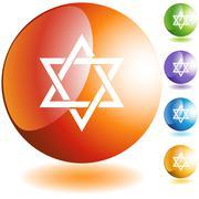 jewish star icon - stock illustration