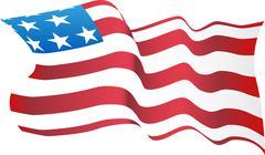 Blowing american flag Stock Illustration