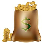 Gold coin bag Stock Illustration