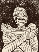 creepy mummy - stock illustration