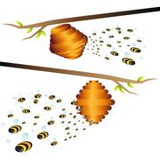 beehive branch - stock illustration