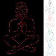healing meditation - stock illustration