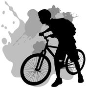 Teenager with bike Stock Illustration
