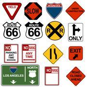 traffic signage set - stock illustration