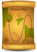 gold treasure map - stock illustration