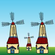 windmills - stock illustration