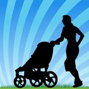 jogging with stroller - stock illustration