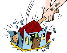 Homeowner destroying house Stock Illustration