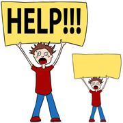 shouting for help - stock illustration