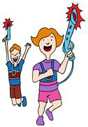 Children playing laser tag Stock Illustration