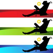 beach girl reading book - stock illustration