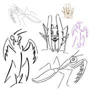 Praying mantis drawings Stock Illustration