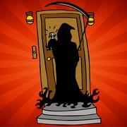 grim reaper knocking - stock illustration
