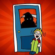 Stock Illustration of grim reaper victim