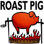 roasted pig - stock illustration