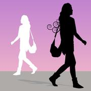 woman walking with purse - stock illustration