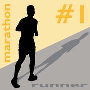 marathon runner number one - stock illustration