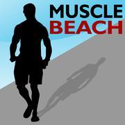 Muscle beach man walking Stock Illustration