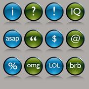 Shiny round text messaging symbol buttons Stock Illustration