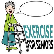 Exercising senior lady with walker Stock Illustration