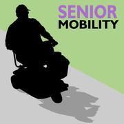 elderly senior man riding scooter - stock illustration