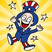 Happy uncle sam Stock Illustration