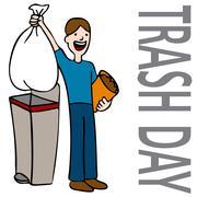 Trash day man Stock Illustration