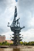 peter 1st monument in moscow - stock photo