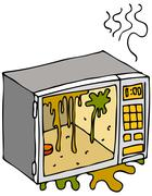 dirty microwave oven - stock illustration
