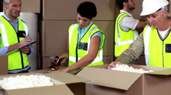 Team of warehouse operatives working together Stock Footage