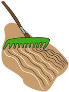 Raking soil Stock Illustration