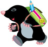 Mole walking to school Stock Illustration