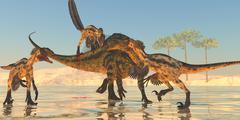 tenontosaurus attack - stock illustration
