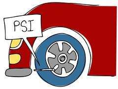 psi tire pressure - stock illustration