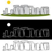 stonehenge drawing - stock illustration