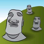 easter island statues - stock illustration
