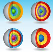 3d layered core spheres Stock Illustration